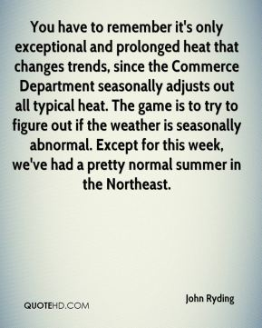 You have to remember it's only exceptional and prolonged heat that changes trends, since the Commerce Department seasonally adjusts out all typical heat. The game is to try to figure out if the weather is seasonally abnormal. Except for this week, we've had a pretty normal summer in the Northeast.