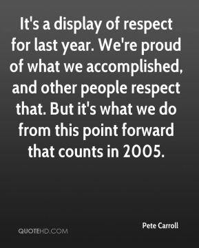 Pete Carroll  - It's a display of respect for last year. We're proud of what we accomplished, and other people respect that. But it's what we do from this point forward that counts in 2005.