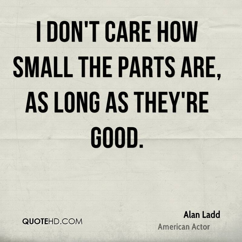 I don't care how small the parts are, as long as they're good.