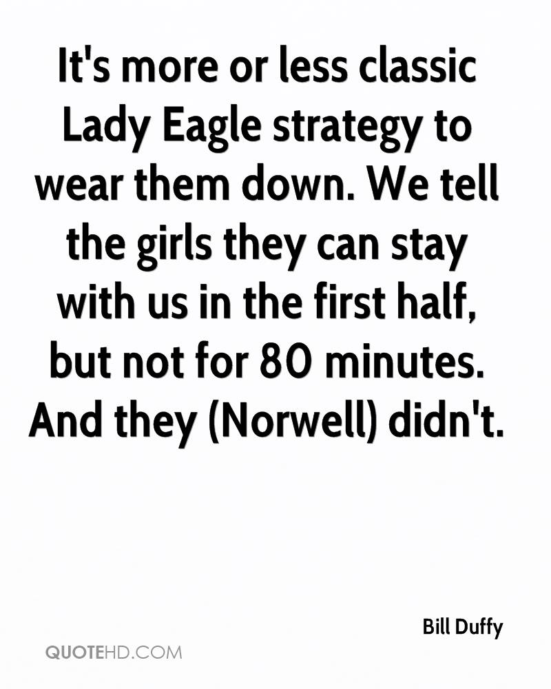 It's more or less classic Lady Eagle strategy to wear them down. We tell the girls they can stay with us in the first half, but not for 80 minutes. And they (Norwell) didn't.