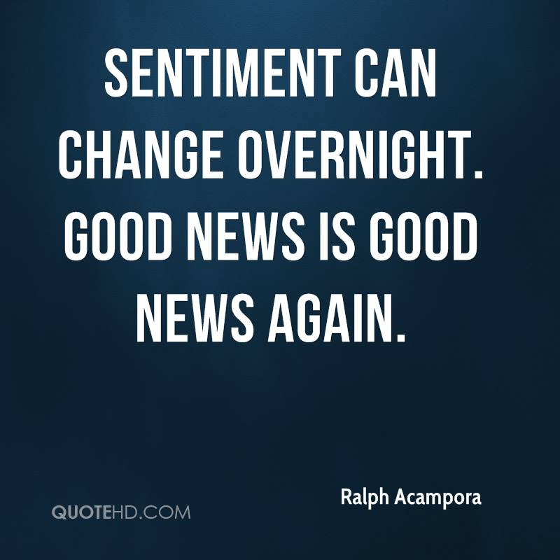 Sentiment can change overnight. Good news is good news again.