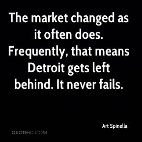 The market changed as it often does. Frequently, that means Detroit gets left behind. It never fails.