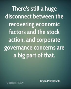 Bryan Piskorowski - There's still a huge disconnect between the recovering economic factors and the stock action, and corporate governance concerns are a big part of that.