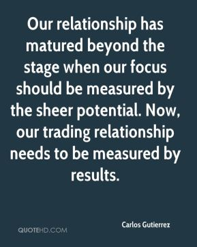 Carlos Gutierrez - Our relationship has matured beyond the stage when our focus should be measured by the sheer potential. Now, our trading relationship needs to be measured by results.