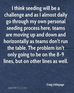 Craig Littlepage - I think seeding will be a challenge and as I almost daily go through my own personal seeding process here, teams are moving up and down and horizontally as teams don't run the table. The problem isn't only going to be on the 8-9 lines, but on other lines as well.