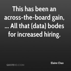 Elaine Chao - This has been an across-the-board gain, ... All that (data) bodes for increased hiring.