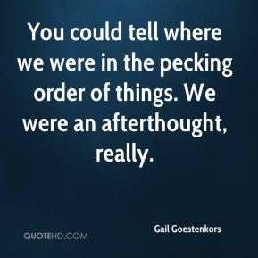 Gail Goestenkors - You could tell where we were in the pecking order of things. We were an afterthought, really.