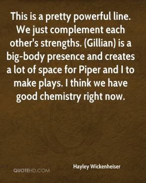 This is a pretty powerful line. We just complement each other's strengths. (Gillian) is a big-body presence and creates a lot of space for Piper and I to make plays. I think we have good chemistry right now.