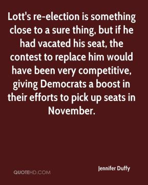 Jennifer Duffy  - Lott's re-election is something close to a sure thing, but if he had vacated his seat, the contest to replace him would have been very competitive, giving Democrats a boost in their efforts to pick up seats in November.