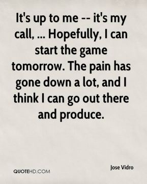 It's up to me -- it's my call, ... Hopefully, I can start the game tomorrow. The pain has gone down a lot, and I think I can go out there and produce.