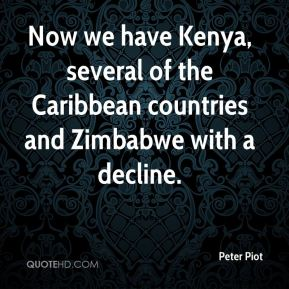 Now we have Kenya, several of the Caribbean countries and Zimbabwe with a decline.