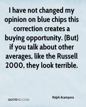 Ralph Acampora  - I have not changed my opinion on blue chips this correction creates a buying opportunity. (But) if you talk about other averages, like the Russell 2000, they look terrible.
