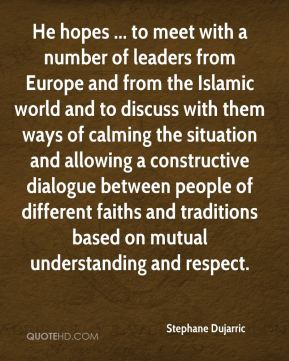 Stephane Dujarric  - He hopes ... to meet with a number of leaders from Europe and from the Islamic world and to discuss with them ways of calming the situation and allowing a constructive dialogue between people of different faiths and traditions based on mutual understanding and respect.