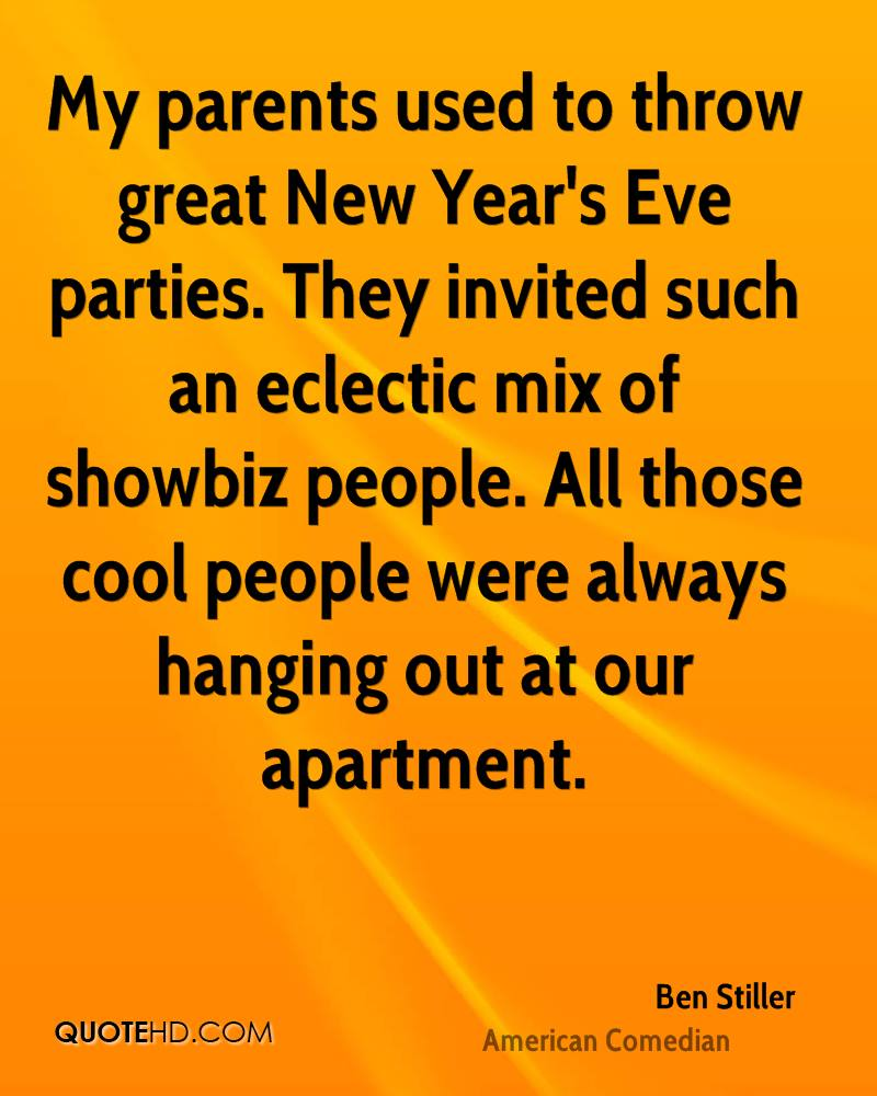 my parents used to throw great new years eve parties they invited such an eclectic