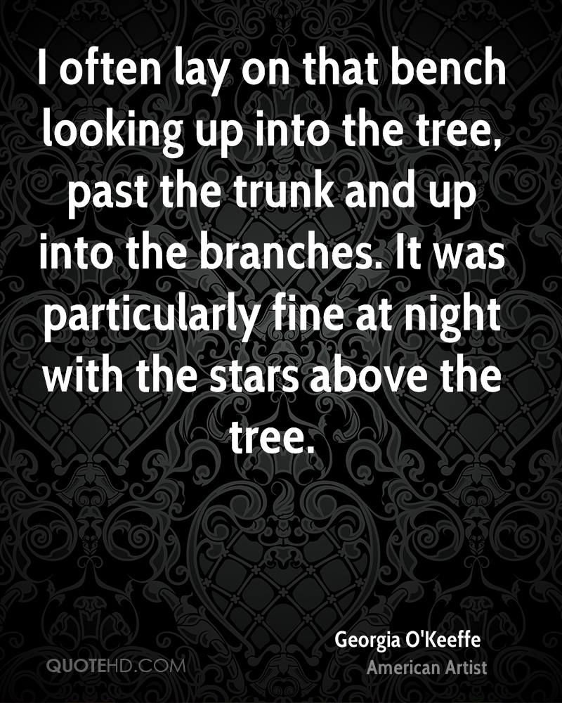 I often lay on that bench looking up into the tree, past the trunk and up into the branches. It was particularly fine at night with the stars above the tree.