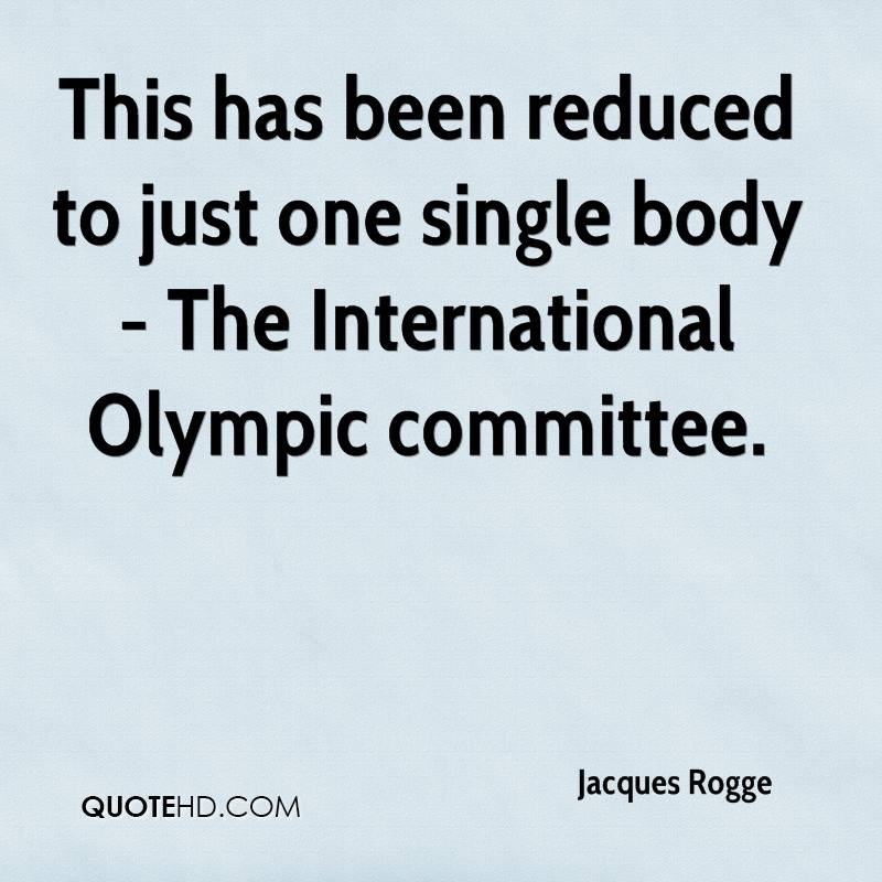This has been reduced to just one single body - The International Olympic committee.