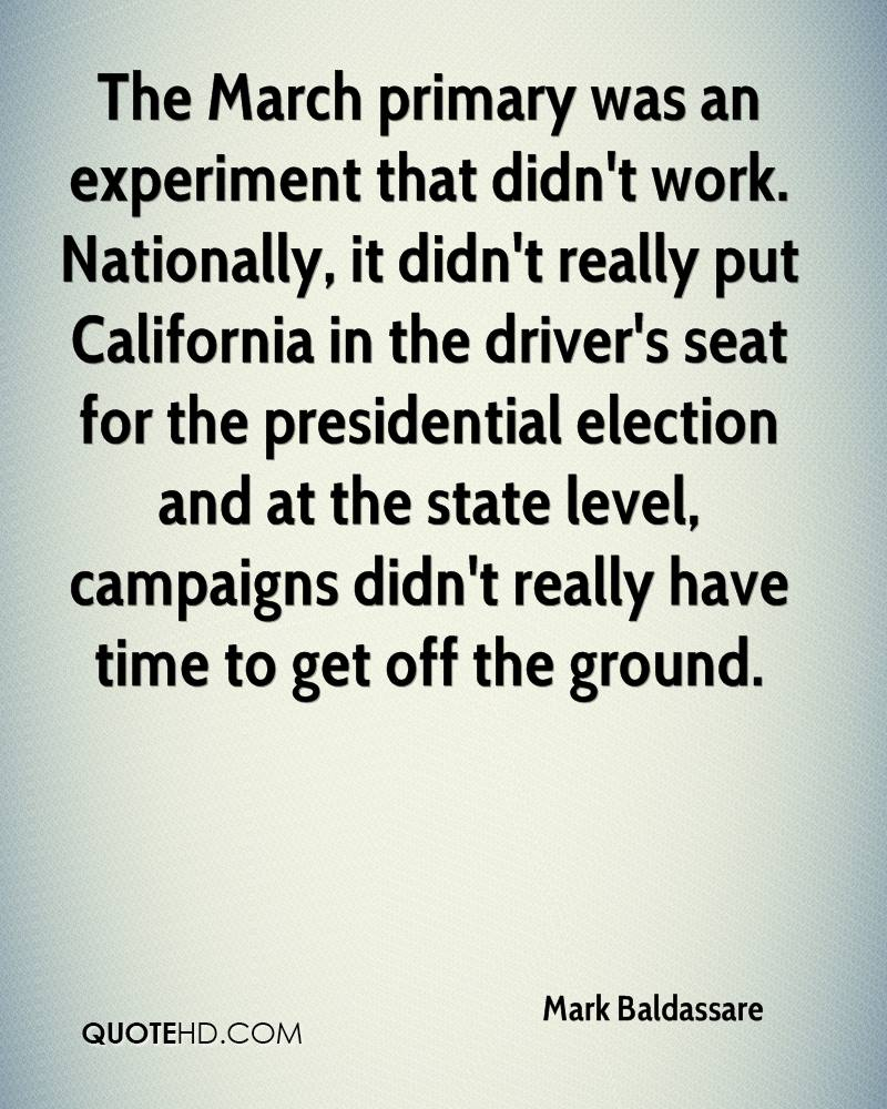 The March primary was an experiment that didn't work. Nationally, it didn't really put California in the driver's seat for the presidential election and at the state level, campaigns didn't really have time to get off the ground.
