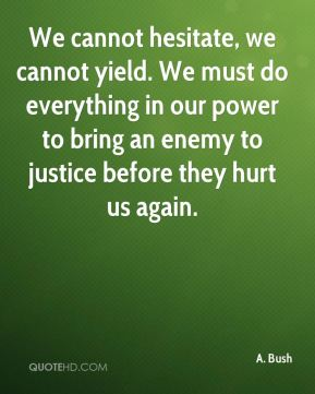 We cannot hesitate, we cannot yield. We must do everything in our power to bring an enemy to justice before they hurt us again.