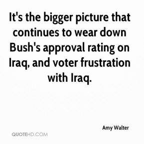 Amy Walter - It's the bigger picture that continues to wear down Bush's approval rating on Iraq, and voter frustration with Iraq.