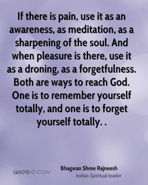 If there is pain, use it as an awareness, as meditation, as a sharpening of the soul. And when pleasure is there, use it as a droning, as a forgetfulness. Both are ways to reach God. One is to remember yourself totally, and one is to forget yourself totally. .