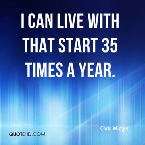 I can live with that start 35 times a year.