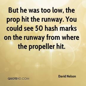 David Nelson - But he was too low, the prop hit the runway. You could see 50 hash marks on the runway from where the propeller hit.