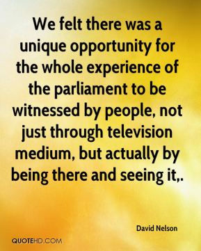 We felt there was a unique opportunity for the whole experience of the parliament to be witnessed by people, not just through television medium, but actually by being there and seeing it.