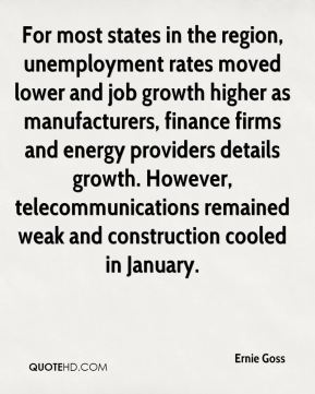 Ernie Goss - For most states in the region, unemployment rates moved lower and job growth higher as manufacturers, finance firms and energy providers details growth. However, telecommunications remained weak and construction cooled in January.