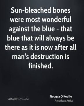 Sun-bleached bones were most wonderful against the blue - that blue that will always be there as it is now after all man's destruction is finished.