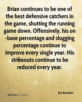 Brian continues to be one of the best defensive catchers in the game, shutting the running game down. Offensively, his on-base percentage and slugging percentage continue to improve every single year. His strikeouts continue to be reduced every year.
