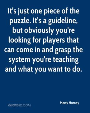 Marty Hurney  - It's just one piece of the puzzle. It's a guideline, but obviously you're looking for players that can come in and grasp the system you're teaching and what you want to do.
