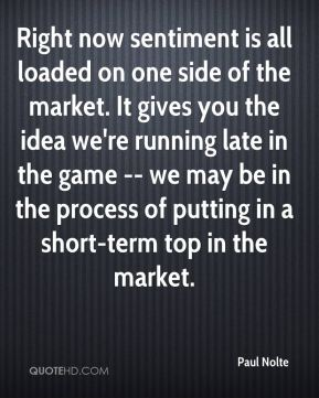Paul Nolte  - Right now sentiment is all loaded on one side of the market. It gives you the idea we're running late in the game -- we may be in the process of putting in a short-term top in the market.