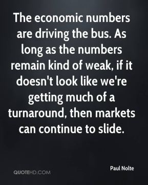 Paul Nolte  - The economic numbers are driving the bus. As long as the numbers remain kind of weak, if it doesn't look like we're getting much of a turnaround, then markets can continue to slide.