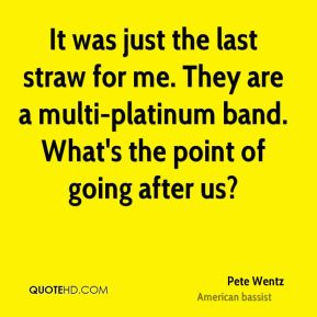 Pete Wentz  - It was just the last straw for me. They are a multi-platinum band. What's the point of going after us?