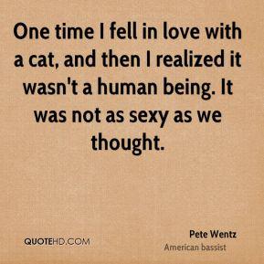 Pete Wentz  - One time I fell in love with a cat, and then I realized it wasn't a human being. It was not as sexy as we thought.