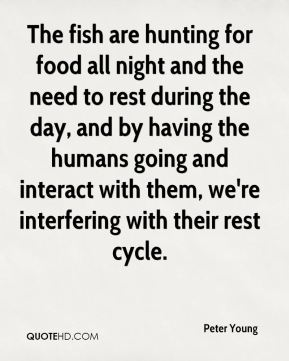 Peter Young  - The fish are hunting for food all night and the need to rest during the day, and by having the humans going and interact with them, we're interfering with their rest cycle.