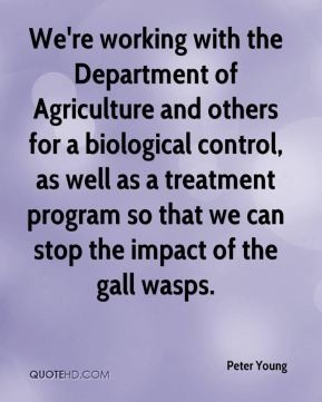 Peter Young  - We're working with the Department of Agriculture and others for a biological control, as well as a treatment program so that we can stop the impact of the gall wasps.