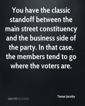 Tamar Jacoby  - You have the classic standoff between the main street constituency and the business side of the party. In that case, the members tend to go where the voters are.