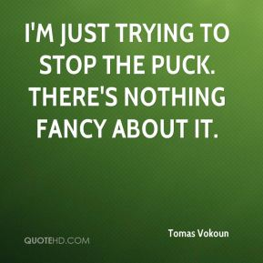 Tomas Vokoun  - I'm just trying to stop the puck. There's nothing fancy about it.