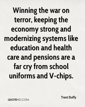 Winning the war on terror, keeping the economy strong and modernizing systems like education and health care and pensions are a far cry from school uniforms and V-chips.