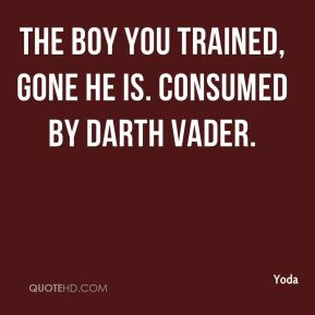 Yoda  - The boy you trained, gone he is. Consumed by Darth Vader.