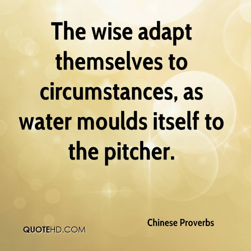 The wise adapt themselves to circumstances, as water moulds itself to the pitcher.