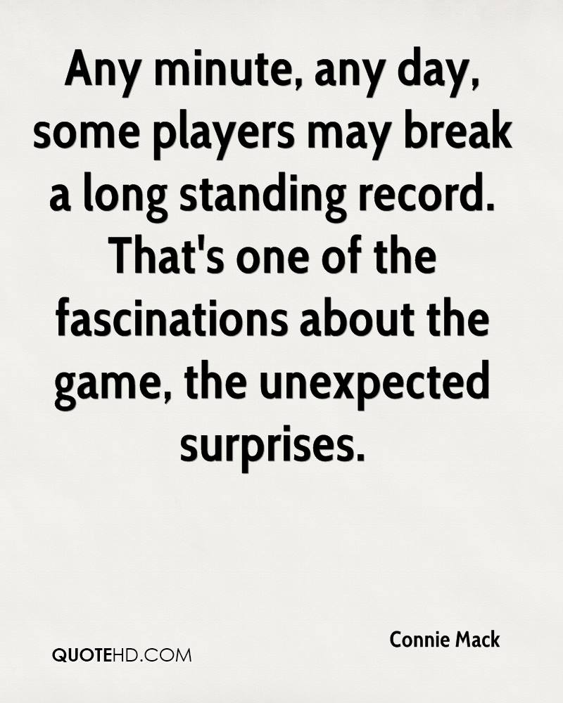Any minute, any day, some players may break a long standing record. That's one of the fascinations about the game, the unexpected surprises.