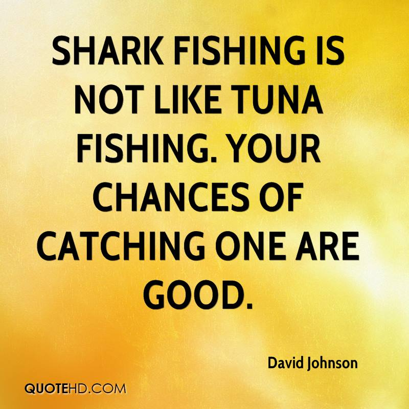 Shark fishing is not like tuna fishing. Your chances of catching one are good.