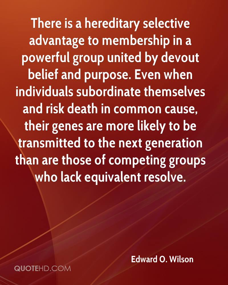 There is a hereditary selective advantage to membership in a powerful group united by devout belief and purpose. Even when individuals subordinate themselves and risk death in common cause, their genes are more likely to be transmitted to the next generation than are those of competing groups who lack equivalent resolve.