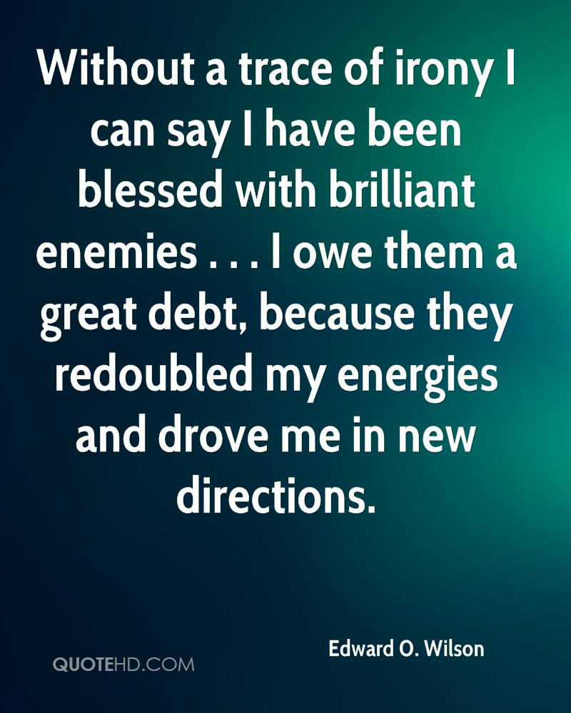 Without a trace of irony I can say I have been blessed with brilliant enemies . . . I owe them a great debt, because they redoubled my energies and drove me in new directions.