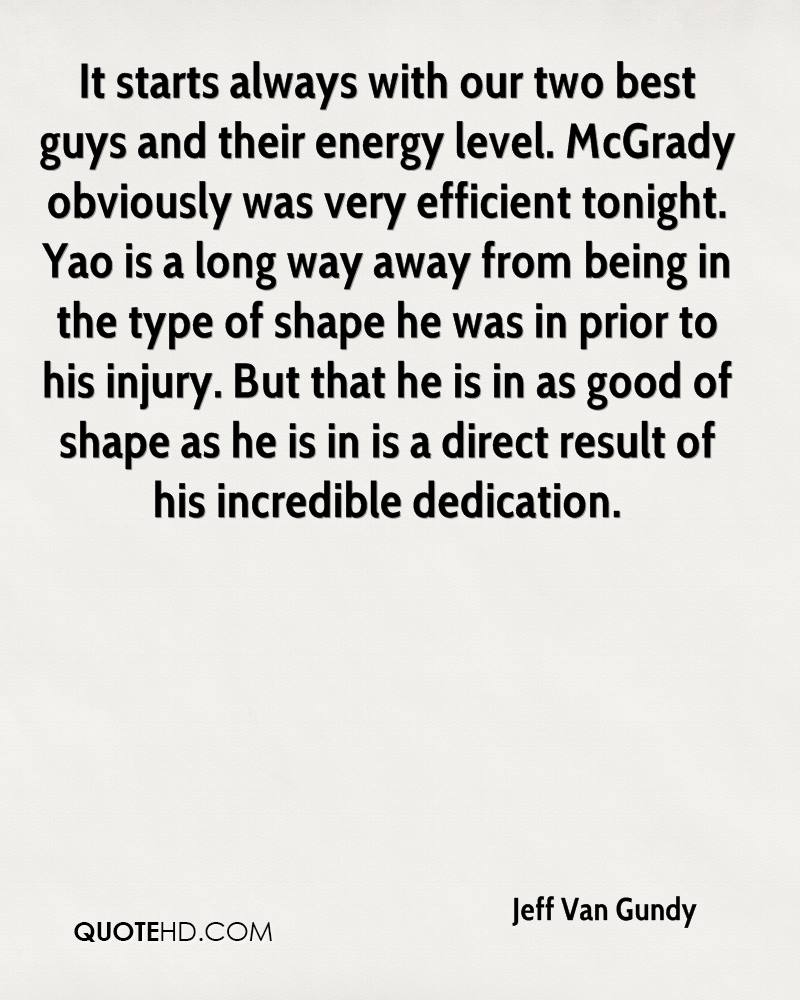 It starts always with our two best guys and their energy level. McGrady obviously was very efficient tonight. Yao is a long way away from being in the type of shape he was in prior to his injury. But that he is in as good of shape as he is in is a direct result of his incredible dedication.