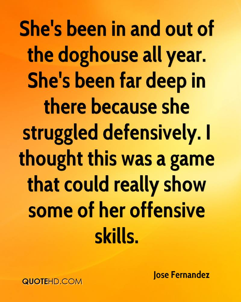 She's been in and out of the doghouse all year. She's been far deep in there because she struggled defensively. I thought this was a game that could really show some of her offensive skills.