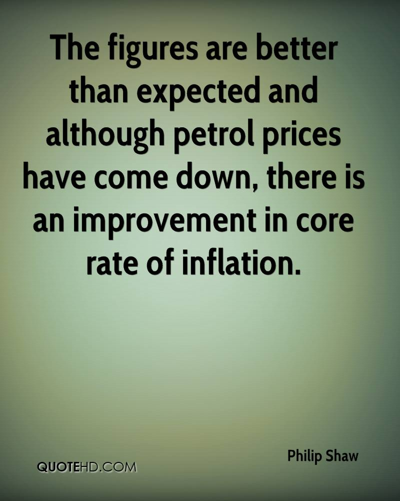 The figures are better than expected and although petrol prices have come down, there is an improvement in core rate of inflation.