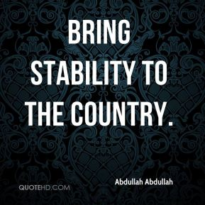 bring stability to the country.